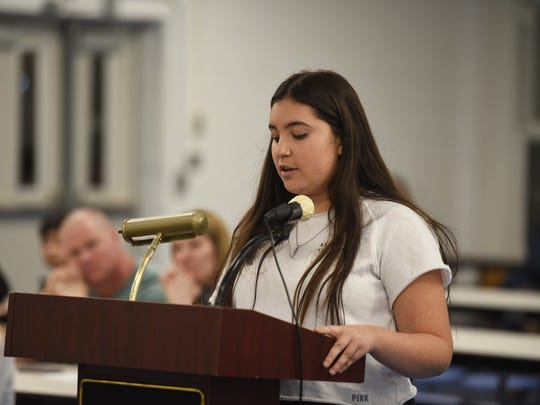 Valeria Saavedra, a North Arlington High School freshman, speaks at the school board meeting on Monday, March 19, 2018, at which the students' participation in the national school walkout was discussed.