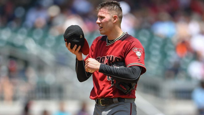 Jul 15, 2018; Atlanta, GA, USA; Arizona Diamondbacks starting pitcher Patrick Corbin (46) shown against the Atlanta Braves during the third inning at SunTrust Park. Mandatory Credit: Dale Zanine-USA TODAY Sports