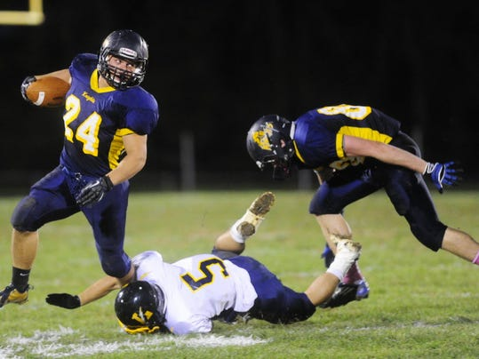 Eastern York's Alex Cooley, left, earned Class AAA All-State First-Team Offense honors Tuesday from the Pennsylvania Football News, leading a strong contingent of YAIAA players to make first, second or third teams.