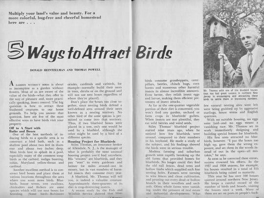 Eastern Bluebird nesting box instructions from a 1959 issue of Organic Gardening and Farming.
