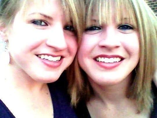 Sara, left, with her twin sister, Rachel. Sara was
