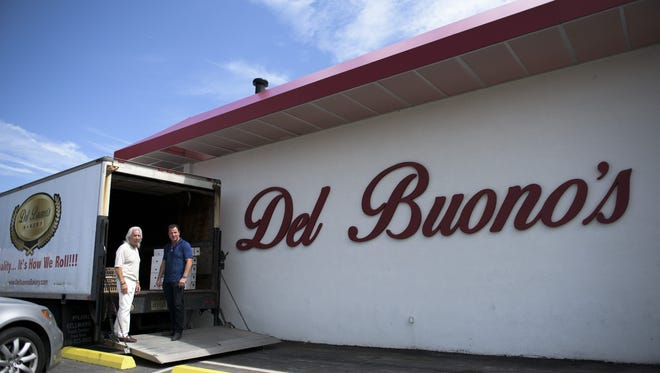 Former owner Nino Del Buono, left, and current owner Tom Whitman pose in front of Del Buono's Bakery Wednesday, Aug. 23, 2017 in Haddon Heights.
