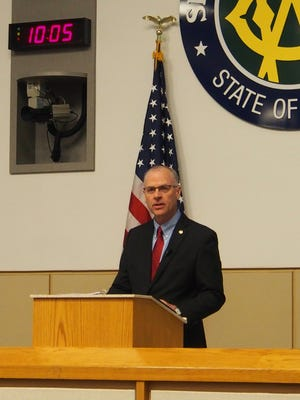 Washoe County Manager John Slaughter presents the 2015 State of the County address on Tuesday.