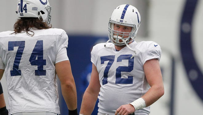 Mike Person (72) was an offensive tackle for the Colts in 2017. The Glendive native and former Montana State star is now the starting right guard for the San Francisco 49ers.