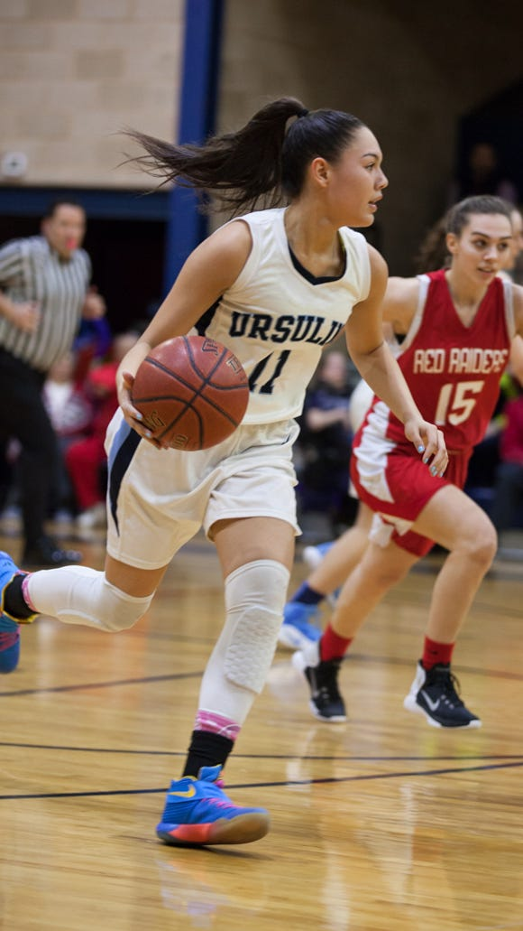 Korina Guerra, 11, drives the ball towards North Rocklands net in the Section 1 Class A girls basketball quarterfinals at The Ursuline School in New Rochelle, February 24, 2017