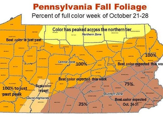 This map shows percentages of full fall colors throughout Pennsylvania and when they peaked, or are expected to peak.
