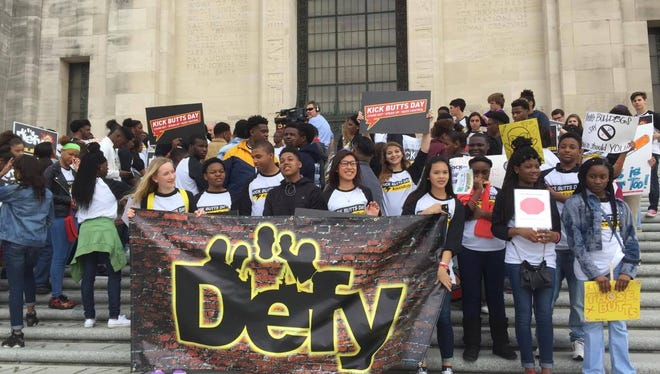 """Middle and high school students from around the state converged on the Louisiana Capitol Wednesday to celebrate """"Kick Butts Day"""" to promote tobacco-free policies. Credit:"""