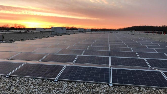 Solar panels at sunset in Sheboyban County at Glacier Transit & Storage in Plymouth