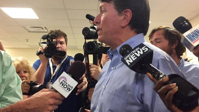 Faso answers questions after the town hall Thursday evening.