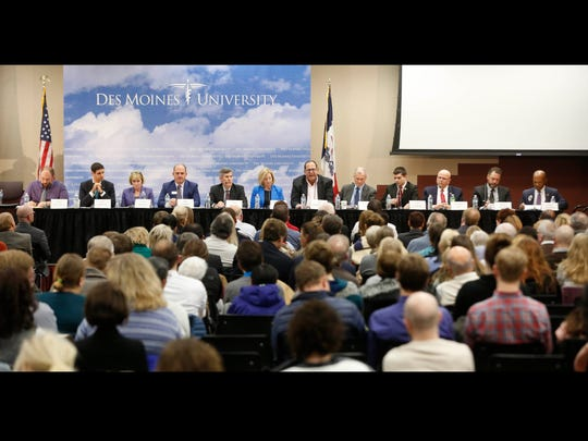 Candidates for governor take questions about the state mental health in Iowa Tuesday, Dec. 5, 2017, at the Register's mental health forum at Des Moines University.