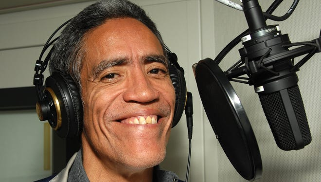 """In this photo provided by NBC Universal, The """"Golden Voiced"""" Internet sensation Ted Williams records voice over promos for MSNBC's """"Lean Foward"""" campaign, in New York, on Thursday, Jan. 6, 2011."""