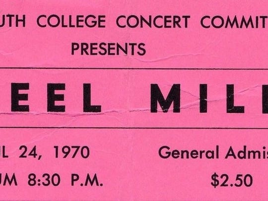 Ticket for Steel Mill's performance at Monmouth College,