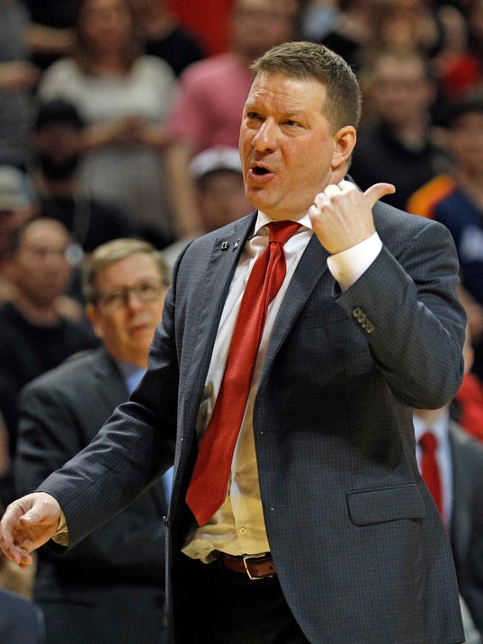 Texas Tech coach Chris Beard yells to a referee during the second half of an NCAA college basketball game against TCU, Saturday, March 3, 2018 in Lubbock, Texas. (AP Photo/Brad Tollefson)