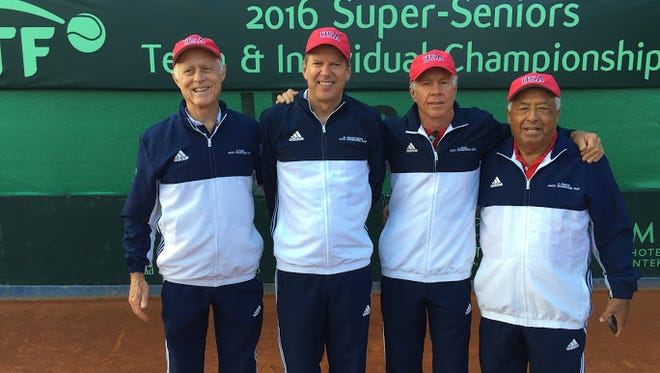 Leslie Buck, 69, of Asheville, placed seventh in the Jack Crawford Cup at the Super Senior World Team Championships, held Sept. 12-17 in Umag, Croatia. Buck is third from left.
