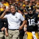 Iowa head football coach Kirk Ferentz watches from the sidelines Saturday, Sept. 17, 2016 during the Iowa Hawkeyes' 23-21 loss to the North Dakota State Bison at Kinnick Stadium in Iowa City.