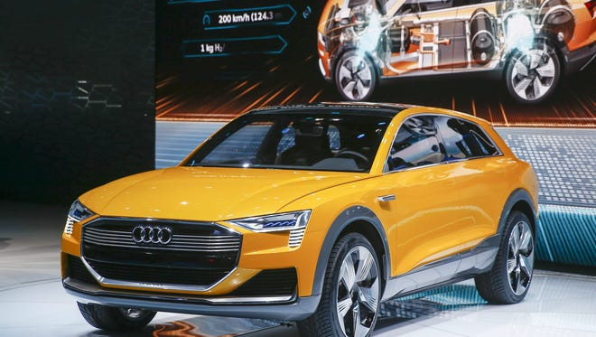 The Audi h-tron Quattro concept automobile is presented at the North American International Auto Show at Cobo Center in Detroit, Michigan, USA, 11 January 2016.