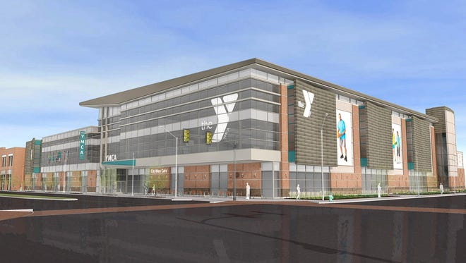 This is how the new YMCA facility at CityWay will look when finished. Dignitaries gathered on Wednesday, July 16, 2014, near the residential-retail complex at the corner of Delaware and South streets to break ground for a new $22 million, 87,000-square-foot YMCA, slated to open in 2015.