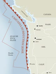 Map of the Cascadia Subduction Zone
