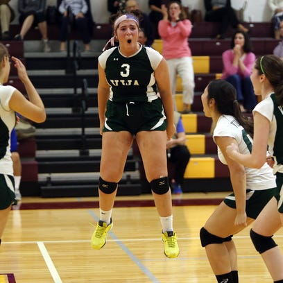 Villa Walsh's Sarah Cawley goes for a kill vs. Madison in a NJAC-Liberty volleyball match. Villa Walsh defeated Madison, 25-16, 26-24 to stay undefeated. September 28, 2016, Madison, NJ
