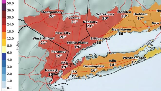 Projected snowfall totals for Tuesday, March 14, 2017.