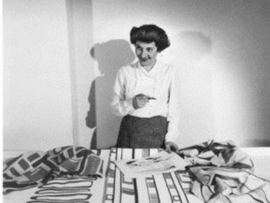 """Ruth Adler Schnee, the Kresge Foundation's Eminent Artist. The artist, below, in 1947, with """"Slits and Slats."""""""