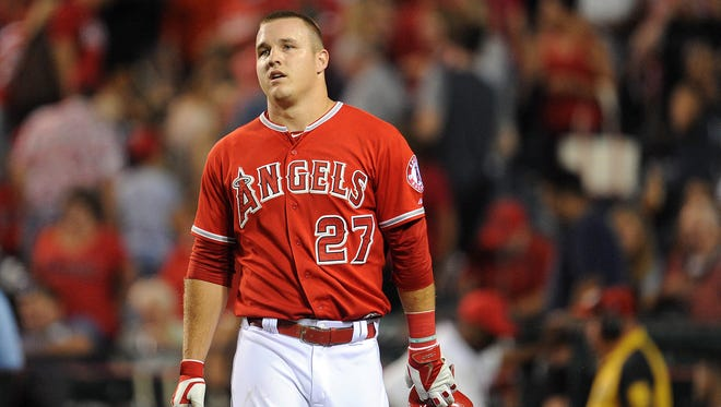 Angels center fielder Mike Trout reacts following the 8-7 loss.