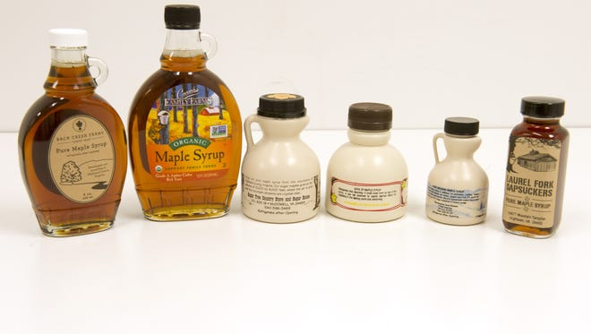 A selection of maple syrup from Highland County, plus one from Vermont, for our 2016 News Leader Maple Taste Test.