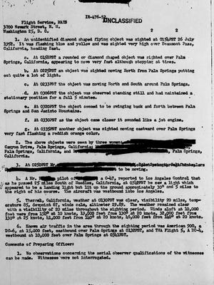 This is a page from an Air Force report detailing the flying diamond seen in the skies over Palm Springs in 1955