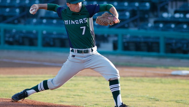 In this file photo, El Diamante's Chandler Lucas took the mound in April against Redwood at Visalia Rawhide's Recreation Park. The Miners captured the 2018 West Yosemite League title after beating Golden West on Thursday in their regular-season finale.