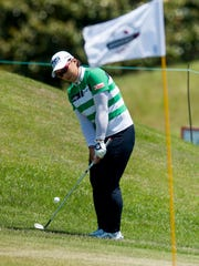 Amy Yang chips on to green during round four of the Yokohama Tire LPGA Classic at the Robert Trent Jones Golf Trail in Prattville, Ala., on Sunday May 8, 2016.