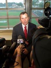 Greg Goff greets the media as the new Alabama baseball