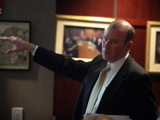 Current New Castle County Land Use Manager Richard Hall speaks at a County Council meeting earlier this year.