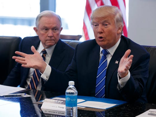 Sen. Jeff Sessions, R-Ala., with President-elect Donald