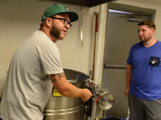 Dogfish Head's Brewing Ambassador Bryan Selders, talks about the collaboration brew between Dogfish and RAR on Thursday, Sept 7, 2017.