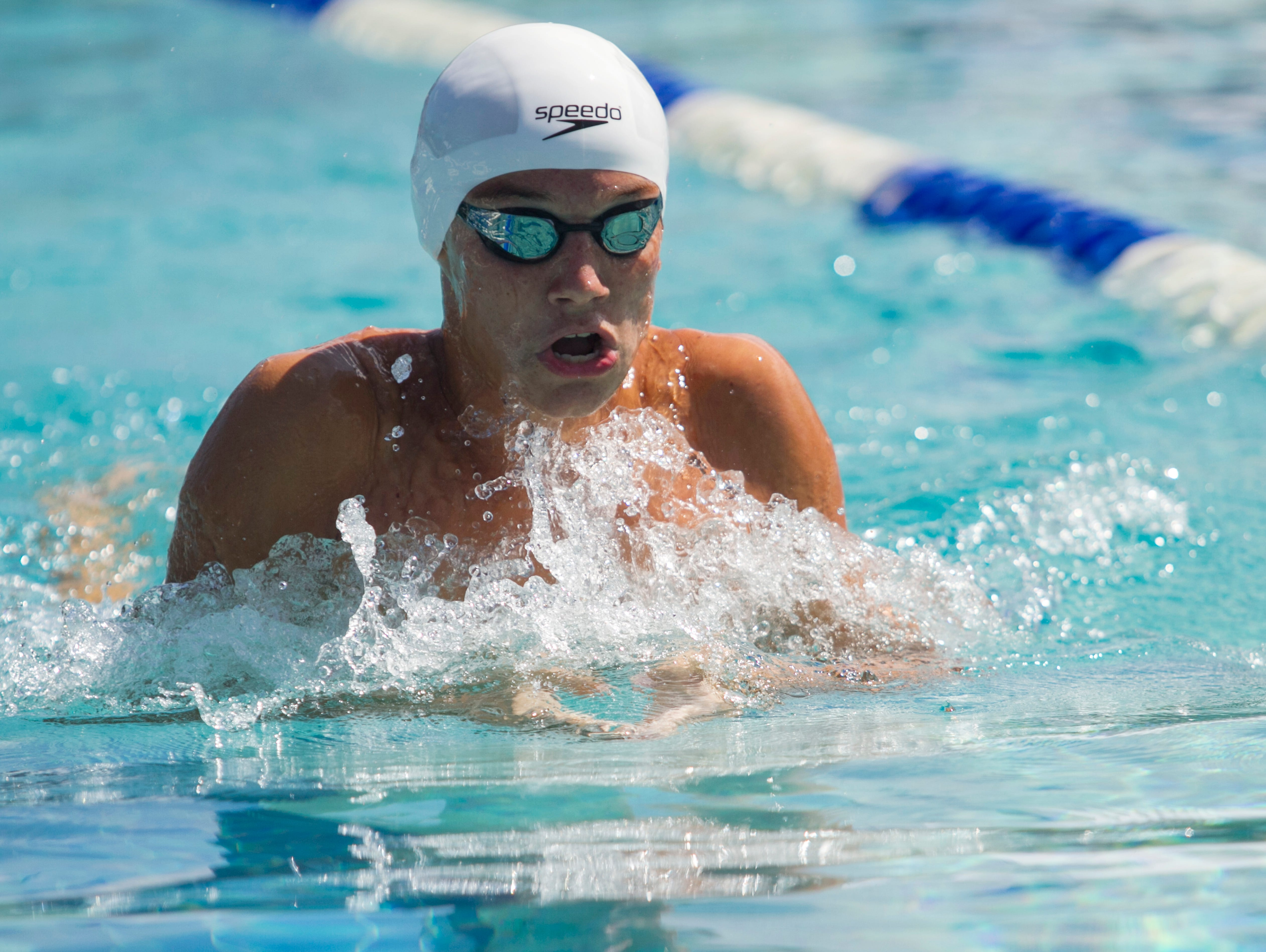 Jack Pellegrino of Cape Coral swims in the Boys 200 Yard IM at the LCAC Championships on Thursday.