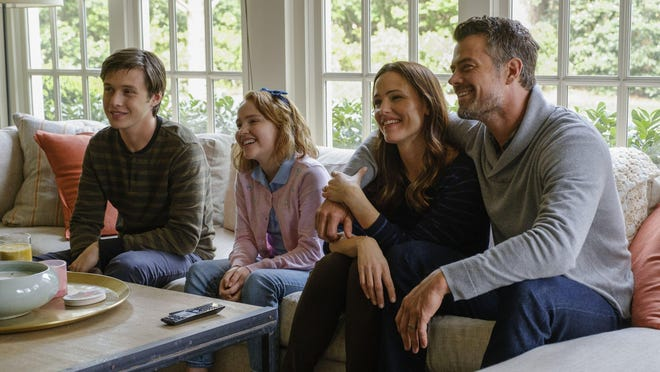 "Nick Robinson, Talitha Bateman, Jennifer Garner and Josh Duhamel in ""Love, Simon."""