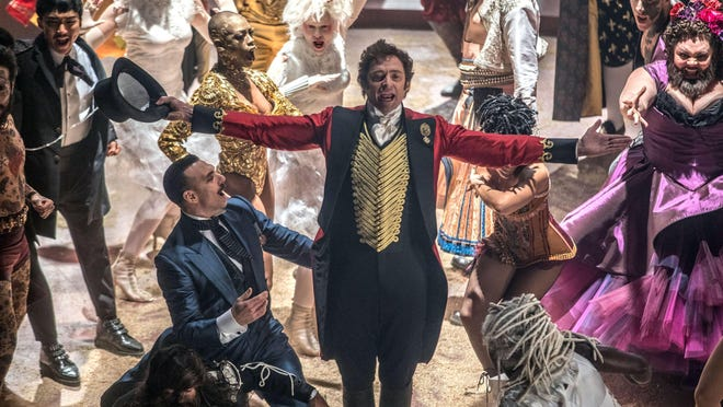 "Hugh Jackman, center, stars as P.T. Barnum in ""The Greatest Showman,"" showing in Meadville starting on Friday."