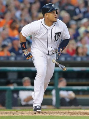 Tigers first baseman Miguel Cabrera doubles during the fifth inning Tuesday at Comerica Park.