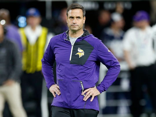 Minnesota Vikings interim coach Mike Priefer walks on the field before the team's NFL football game against Dallas Cowboys on Thursday, Dec. 1, 2016, in Minneapolis. Vikings coach Mike Zimmer missed the game following emergency surgery to repair a detached retina. (AP Photo/Jim Mone)