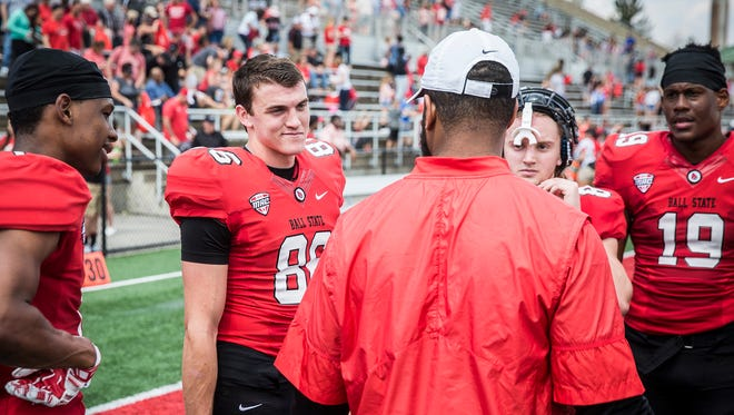 Ball State's Riley Miller during the team's Spring Game scrimmage at Scheumann Stadium Saturday, April 15, 2017.
