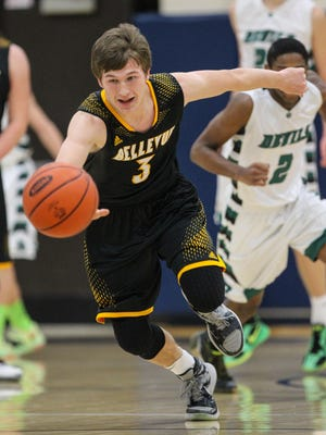 Bellevue's Matthew Fryman chases a loose ball on Monday against Dayton.