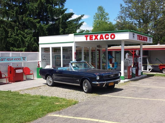 A 1960s replica filling station at Owego Soft Serve Ice Cream Park and Route 96 BBQ.