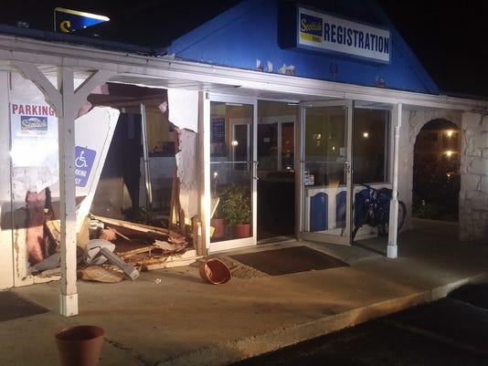 Fairview Twp. fire officials said an exterior wall at the Scottish Inn at 300 Commerce Drive was badly damaged when an SUV crashed into it on Oct. 27, 2015.