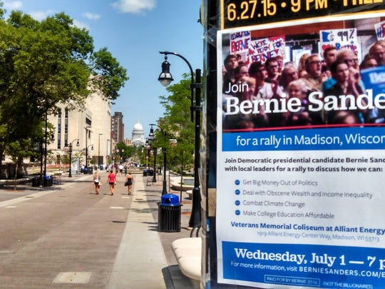 The Sanders campaign tapped Reddit community to help them fill the stadium in Madison, Wisconsin, in July and provided volunteers with these downloadable fliers to spread.