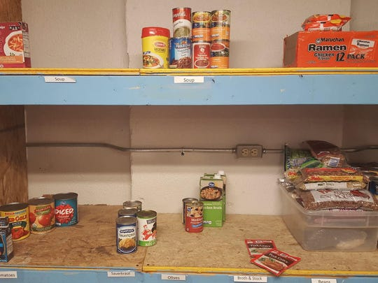 Pantry shelves at the South Oakland Shelter are pretty bare. Donations of non-perishable items are welcome.
