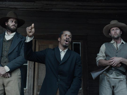 "(From L-R:) Armie Hammer, Nate Parker and Jayson Warner Smith in ""The Birth of a Nation."""