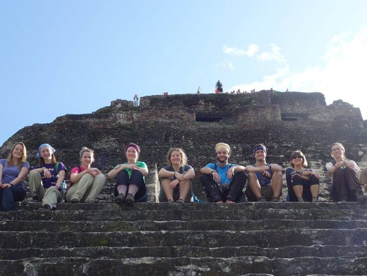 Class picture halfway up Xunantunich (Stone Lady).jpg