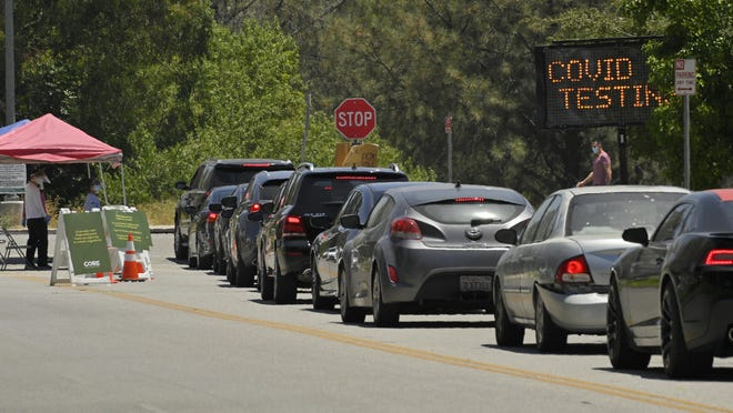 Cars line up for coronavirus testing at Hansen Dam Recreation Center on Tuesday in Los Angeles. Less than two months ago, Los Angeles had so many tests available for coronavirus that tens of thousands were going unused. Today, it's impossible to book an appointment.