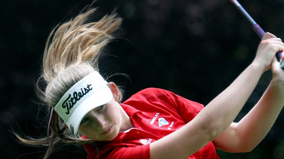 Lauren Peter of Carmel tees off on the 16th hole during