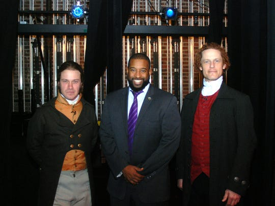 "Union County Freeholder Mohamed S. Jalloh welcomes Thomas Jefferson (Steven Edenbo) and Alexander Hamilton (Eben Kuhns) to the Union County Preforming Arts Center in Rahway, where the actors performed ""Thomas Jefferson and Alexander Hamilton: Conflict and the Constitution."" The show, sponsored by the Union County Board of Chosen Freeholders, was designed for middle school students and features a one-hour meeting and debate between two of the most controversial founding fathers. Hundreds of students from schools throughout Union County will see the show."